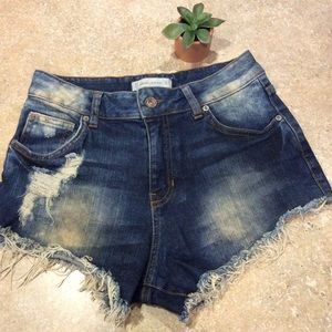 MNG JEANS FRAYED SHORTS